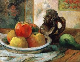 Still life with apples, a pear and a jug