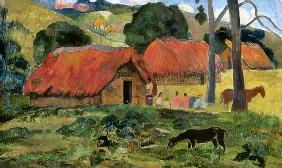 Landscape with a dog in front of a shed