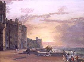 Windsor Castle: North Terrace looking west at sunset