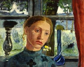 Girl head in front of a window