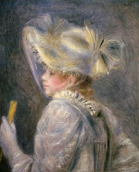 Young woman with a white hat.