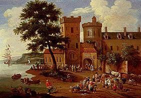 Landscape in front of a small castle with fisherman scene