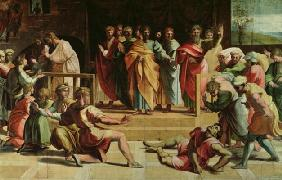 The Death of Ananias (cartoon for the Sistine Chapel) (PRE RESTORATION)