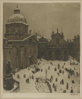 Der Kreuzherrenplatz in Prag , 1908 (coloured etching)