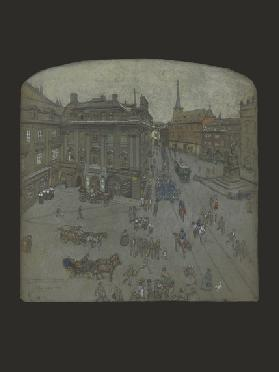 Radetsky-Platz, Prague, 1902 (pencil, pastel & w/c on paper)