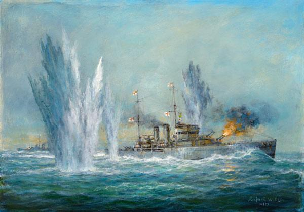 HMS Exeter engaging in the Graf Spree at the Battle of the River Plate