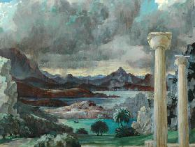 Storm over Greece (oil on canvas)