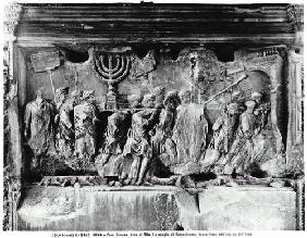 The Arch of Titus, detail of the Temple treasures being carried after the Sack of Jerusalem in 70 AD