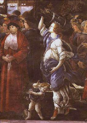 The Purification of the Leper and the Temptation of Christ, in the Sistine Chapel: detail of woman c