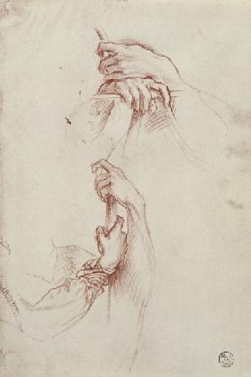 Two studies of a young man's pair of hands (red chalk)