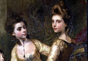 Two Elegant Young Girls, detail from the painting The Fourth Duke of Marlborough and his Family