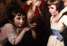 Two Girls, One Playing with a Mask, detail from the painting The Fourth Duke of Marlborough and his