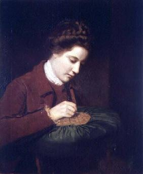 Lady embroidering, Mary Duchess of Richmond