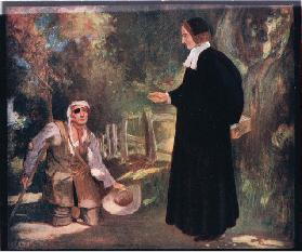 Bishop Ken and the beggar (colour litho)