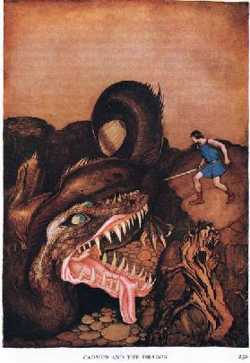 Cadmus and the dragon, 1938 (colour litho)