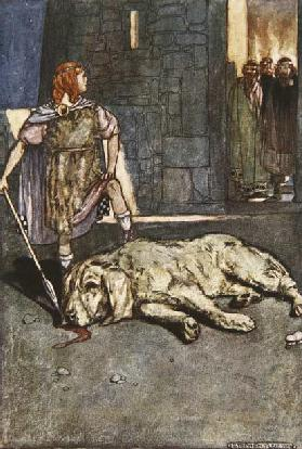 Cuchalain slays the Hound of Culain, illustration from Cuchulain, The Hound of Ulster, by Eleanor Hu