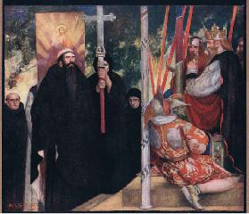 The reception of Saint Augustine by Ethelbert (colour litho)