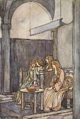 There sat the three maidens with the Queen, illustration from The High Deeds of Finn, and other Bard
