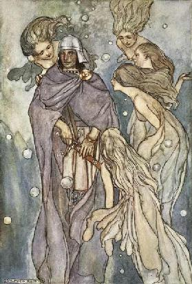 There dwelt the red-haired ocean-nymphs, illustration from The High Deeds of Finn, and other Bardic