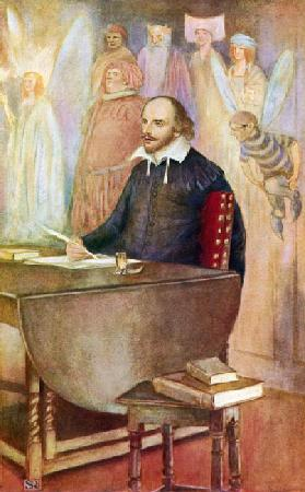 Shakespeare and some of the immortal creatures of his fancy (colour litho)