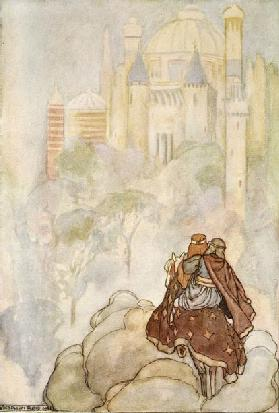 They rode up to a stately palace, illustration from The High Deeds of Finn, and other Bardic Romance