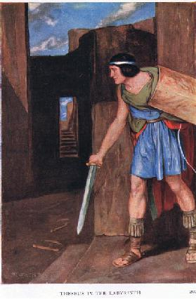 Theseus and the labyrinth, 1938 (colour litho)