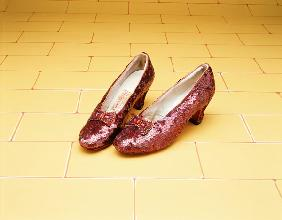 A Pair Of Ruby Slippers Worn By Judy Garland In The 1939 MGM Film ''The Wizard Of Oz''