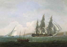 A frigate running under full sail, with a cutter and a lugger off the West Country