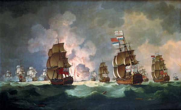Nightly naval battle at piece of Vincent (on January 16th, 1780)