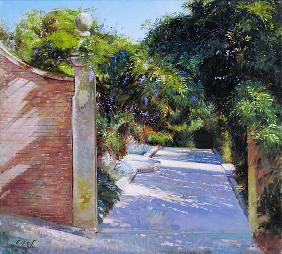 Gateway into the Sundial Garden at Heligan (oil on canvas)