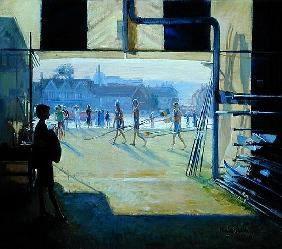 Passing the Boat Tent, Henley, 1993 (oil on canvas)