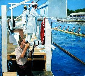 Passing the Progress Board, Henley (oil on canvas)