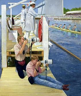 Passing the Scoreboard, Henley (oil on canvas)