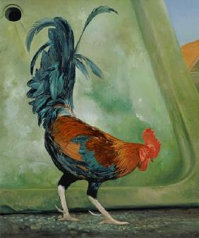 Popinjay, detail showing cockerel, 1987 (oil on canvas)