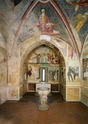 Interior of the Baptistery with fresco depicting scenes from the Life of Saint John, by Tommaso Maso