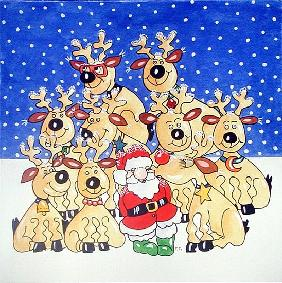 Santa and the Team, 2005 (w/c on paper)