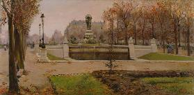 A View of the Tuillerie Gardens, Paris (oil on canvas)