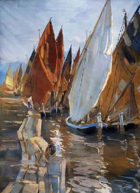Adriatic sailboats, by Umberto Coromaldi (1870-1948). Italy, 20th century.