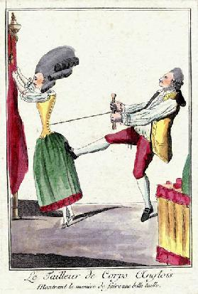 Tailor pulling tight the corset of an Englishwoman