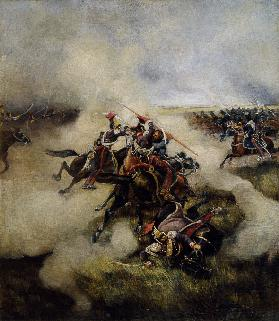 Polish uhlans fighting with cossacks