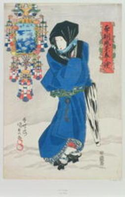 Japanese Woman in the Snow (colour woodblock print)