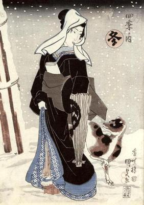 Winter, from the series 'Shiki no uchi' (The Four Seasons) (colour woodblock print)