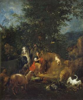 Orpheus plays in front of the animals