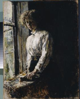 At the window. Portrait of Olga Fyodorovna Trubnikova