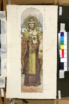Saint Nikita, Bishop of Novgorod (Study for frescos in the St Vladimir's Cathedral of Kiev)