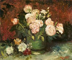 Bowl with peonies and roses