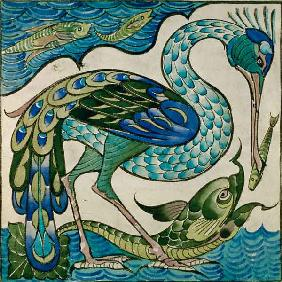 Tile Design of Heron and Fish