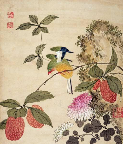 One of a series of paintings of birds and fruit