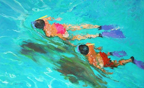 Snorkellers (oil on board)