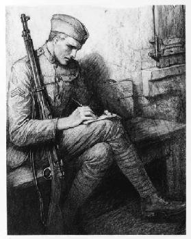 Writing a letter, c.1919 (litho)